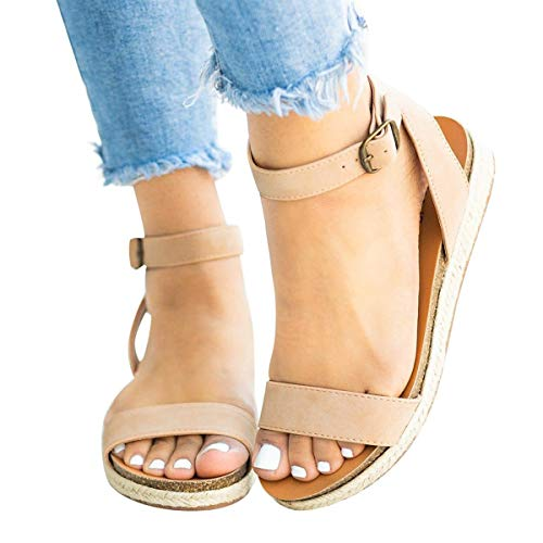 Best Price Women's Cute Open Toes One Band Ankle Strap Flatform Summer Woven Flat Sandals New (Beige...