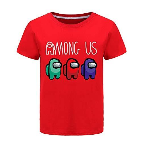 Among Us Verano 100% Camisetas de algodón para niños, niñas, Camisetas de Manga Corta, de 2 a 13 años (Red,11-12 años)