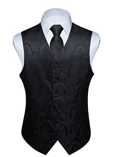 Hisdern Manner Paisley Floral Jacquard Weste & Krawatte und Einstecktuch Weste Anzug Set, Schwarz-3, Gr.-4XL (Brust 57 Zoll)