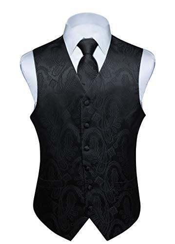 Hisdern Manner Paisley Floral Jacquard Weste & Krawatte und Einstecktuch Weste Anzug Set, Schwarz-3, Gr.-3XL (Brust 54 Zoll)