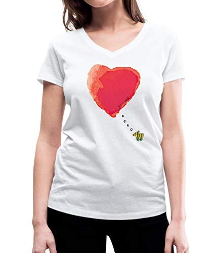 Janosch Tigerente Verliebt Großes Herz Frauen Bio-T-Shirt mit V-Ausschnitt von Stanley & Stella, S, Weiß