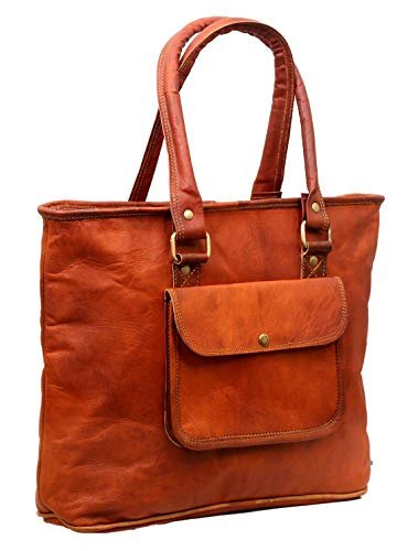 ✤TOTE LEATHER BAG: Genuine Goat leather Brown Tote bag is 16 inches Wide and 12 inches Tall, Style-Tote/Shoppers/Shoulder Bag, Material - Leather , Color-brown, Making- Handmade. ✤MULTI-UTILITY BAG: This genuine leather Tote bag is solid, Sturdy and ...