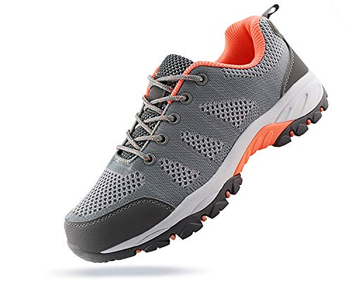 JABASIC Women Hiking Shoes Breathable Mesh Athletic Outdoor Sneakers (Lt.Grey/Pink,8)