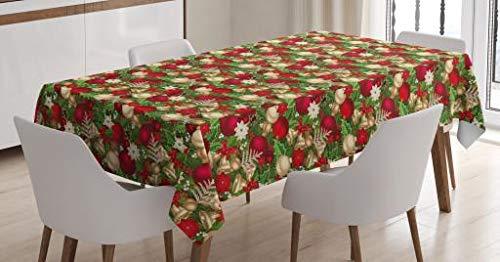 ABAKUHAUS Weihnachten Tischdecke, BaumZweige Glocken, 140 x 200 cm, Personalisierter Druck Klare Farben ohne Verblassen Waschbar für Außen Bereich, Multicolor