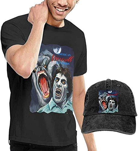 Werewolf in London Men's T-Shirt and Hats for Teenager Black,XXL