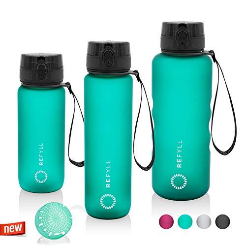 REFYLL Sport Trinkflasche mit Früchtebehälter I 'powerFYLL' Wasserflasche für deinen Lifestyle I BPA freie Sportflasche aus Tritan für Sport, Uni, Schule, Büro und Fitness (Grün, 1500ml)