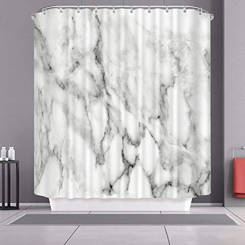 UUDD Marmor-Duschvorhang, Granit-Oberflächenmuster, wasserdichtes Tuch, Badezimmer-Deko-Set mit Haken, 182,9 x 182,9 cm Modern one size Grau/Weiß