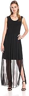Star Vixen Women's Sleeveless Black Chiffon Maxi Short Bodycon Sheath Dress Lining