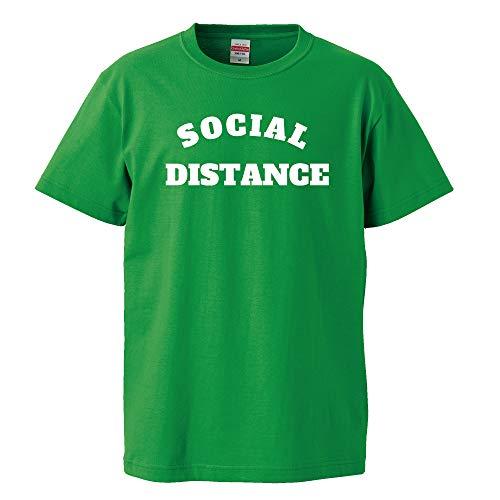 【Social Distance/ソーシャルディスタンス】コロナに負けるな Tシャツ 緊急事態宣言 安倍晋三 自民党 JN-45 (グリーン/ホワイト, M)