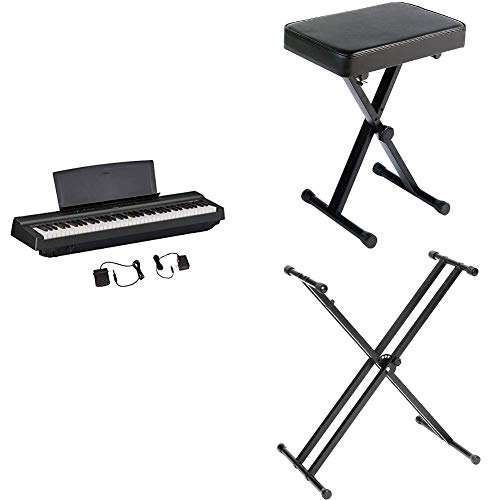 Yamaha P121 73-Key Weighted Action Compact Digital Piano with Adjustable Padded Keyboard X-Style Bench and Double-Braced Adjustable X-Style Keyboard Stand