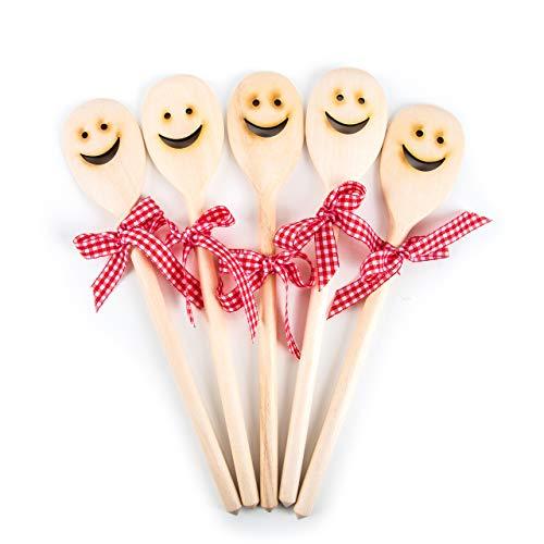 5 Stück Holz Kochlöffel LACHENDES GESICHT SMILIE als Gastgeschenk Mitgebsel give-away Geschenk Küche Kochen Weihnachten Geburtstag Hochzeit Spaß-Geschenk