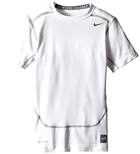 Nike Kinder Unterwäsche Pro Core Compression Short Sleeve Top Junior Shirt, White/Cool Grey, M