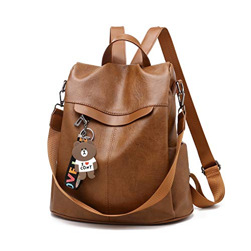 Women Backpack Anti-theft Waterproof Casual Rucksack Purse PU Leather Lightweight School Shoulder Bag(Bright PU Brown)