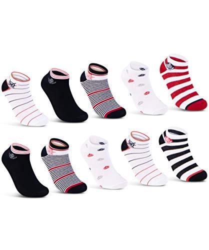 10 Paar Damen Sneaker Socken Damen Maritim Baumwolle - 36828 (35-38)