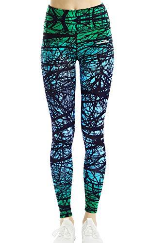 COOLOMG Damen Tights Yoga Hosen Kompression Leggings Sport Trainingshose Lang Green Forest M