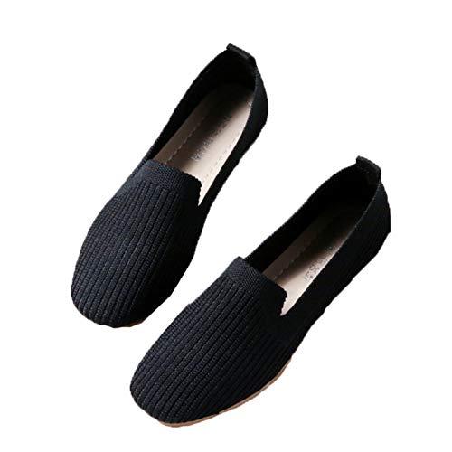 Señoras Puntiagudas Retro Primavera Verano Zapatos de Trabajo al Aire Libre Mocasines de Fondo Suave Zapatos de Ballet de Madre de Cuero Duradero