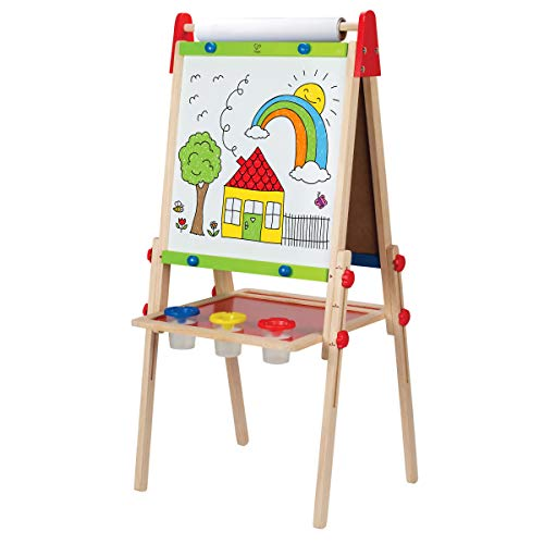 Award Winning Hape All-in-One Wooden Kid's Art Easel with Paper Roll and Accessories Cream, L: 18.9, W: 15.9, H: 41.8 inch