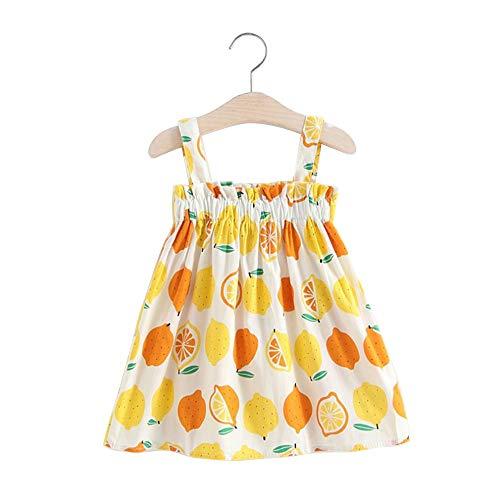 XINGXINGFAN Elegante modische Sommer ärmellose Mädchen Zitrone gedruckt Sommerkleid Vintage Kinder Kleider für 0-2 Jahre alt neugeborenes Kleinkind Baby Mädchen