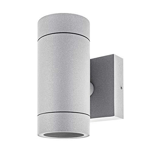 LED Wandleuchte Aussen VENTO (Grau) Wand-lampe up & down, GU10, IP54, Wandbeleuchtung, Gartenfassung aus aluminium/gehärtetes glas – ohne Leuchtmittel