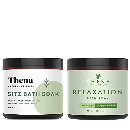 THENA Organic Sitz Bath Soak and Organic Muscle Soak for Relaxation Bundle