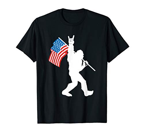 Funny Bigfoot Rock and Roll USA Flag for Sasquatch Believers T-Shirt
