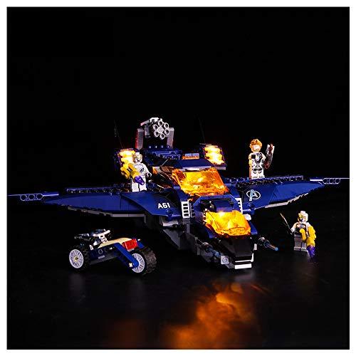 Iluminación de Bloques de construcción LED, Compatible con Lego 76126 Avengers 4 Kun Fighter Jets, Conjunto de iluminación de Control Remoto Creativo de DIY (sin incluir Bloques),B
