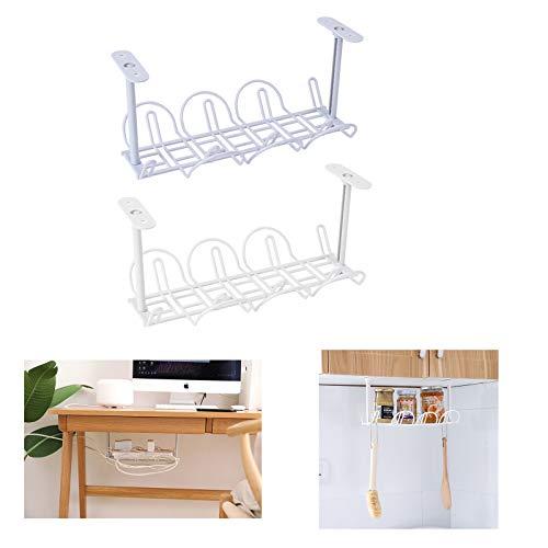 HHYSPA 2 Pcs Under Shelf Storage Basket,Under Cabinet Hanging Metal Wire Storage Wire Basket,Accessories Hanging Rack Decor,for Kitchen Pantry Desk Bookshelf Power Socket Organizer
