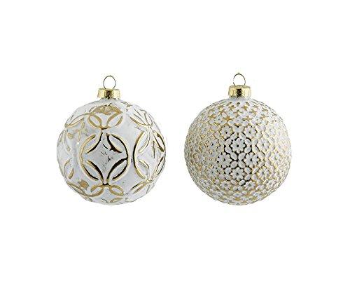Set da 4 Sfere in Vetro Decoflor in Bianco e Oro, EDG diametro 8 cm