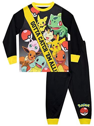 Pokemon Pijamas de Manga Larga para niños Negro 10-11 Años