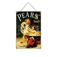 ペアーズソープキッズかわいい木製のリストプラーク木の看板ぶら下げ木製絵画パーソナライズされた広告ヴィンテージウォールサイン装飾ポスターアートサイン
