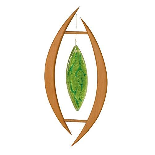 Fensterdeko aus Holz Oliva zum Aufhängen | Grünes Glas | Fensterschmuck Oliva | Fenster Deko | Geschenkidee