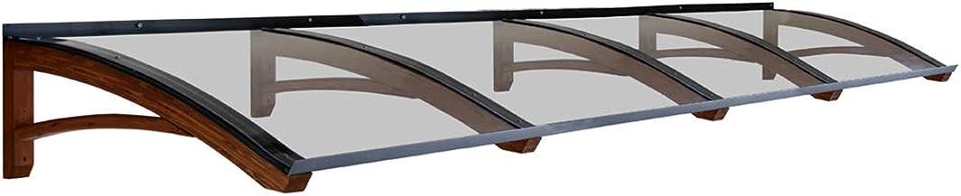 BELLHOUSE COPERTURE h/älzern Vordach Modell Legno Riccio WEISS UND GRAU TIEFE 90 H/ÖHE 42 BREITE 150 ZM TRANSPARENT