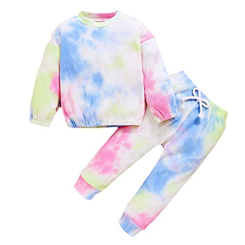 Baby Girl Ruffle Top Knitted Clothes Set Long Sleeve Sweater Sweatshirt Shirts Leggings Pants with Bow Fall Winter Outfits (C-Pink, 3-4T)