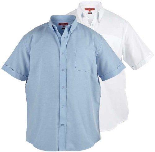 Rock Ford Oxford camisa para hombre manga corta botones de cuadros (Stan) blanco o azul
