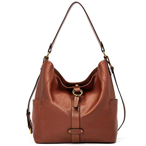High-Quality Material:The leather handbag is made from genuine leather material with durable and delicate golden hardware, decorative double ring circles and is equipped with a detachable and adjustable shoulder strap and top-handle. Five metal rivet...