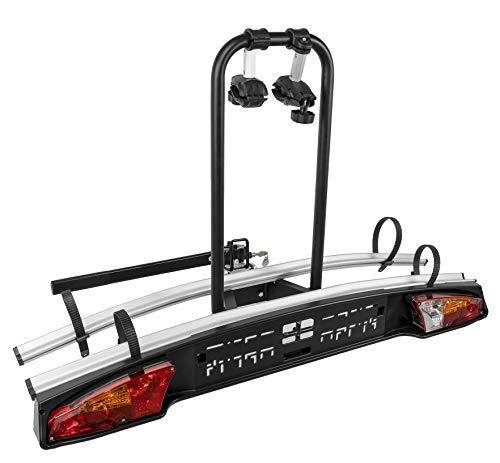 MENABO Portabicicletas de Gancho para Remolque Bola Enganche-Sistema abatible y Montaje rápido-para 2 Bicicletas btt-ebike 000119100000, Multicolor