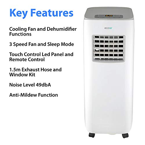 EcoAir Crystal Portable Air Conditioner 3 in 1 Air Conditioning, Air Cooler, Dehumidifier with Fan Function 9000BTU, Remote Control LED Display 3 Fan Speeds Sleep Mode 24 Hour Timer