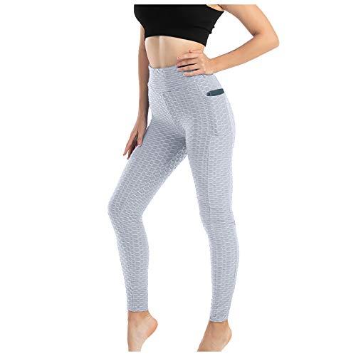 Taurner Pantalones de Yoga Elásticos para Mujer Pilates Polainas de Anti-Cellulite Color Sólido Pantalón de Gimnasio Transpirables con Bolsillos (Blanco, M)
