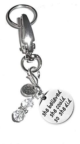 Charm Key Chain Ring, Women's Purse or Necklace Charm, Comes in a Gift Box! (She Believed She Could So She Did)