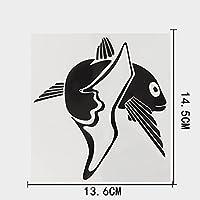 LGLGXR 13.6cmx14.5cmパーソナリティマリン動物ビニールビッグテールフィッシュデカールカーステッカー (Color Name : Black)
