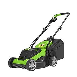 Greenworks Tondeuse à Gazon sans Fil, 2 x 24V 36cm, Hauteur de Coupe 20-70mm, Accoudoir Pliable, avec Poche de Ramassage…