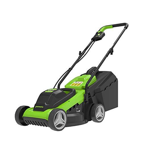 Greenworks Elektro akku-rasenmäher Mähroboter (Li 24V 33cm Schnittbreite bis zu 150qm² 30L Akkurasenmäher 3-fache zentrale Schnitthöhenverstellung ohne Akku und Ladegerät)