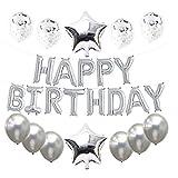 PPTS 6 pulgadas feliz cumpleaños película de aluminio conjunto de cartas de globo redondo lentejuelas de cinco puntas de globo decoración de fiesta, Plateado, 1 set