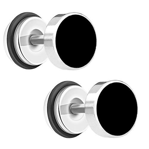 Ditz Ohrstecker Edelstahl mit Platte zum Schrauben Flach Fake Plug Piercing Ohr Damen Herren Doppel Ohrringe Rund Kreis Flach Schwarz Silber 8mm