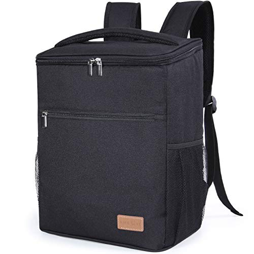 Lifewit 24L Soft Cooler Backpack with Hard Liner, Large Insulated Picnic Lunch Backpack Soft-Sided Cooling Bag for Camping/BBQ/Family Outdoor Activities (Black)