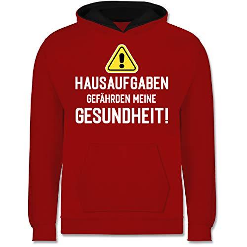 Shirtracer Einschulung und Schulanfang Geschenk - Hausaufgaben gefährden Meine Gesundheit Warnschild weiß - 152 (12/13 Jahre) - Rot/Schwarz - Fun - JH003K - Kinder Kontrast Hoodie