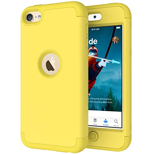 iPod Touch 7 Case,iPod Touch 6 Case,Cyberowl Heavy Duty Shockproof Full-Body Dual Layer Hard PC+ Soft Silicone for Apple iPod Touch 7th/6th/5th Generation Yellow