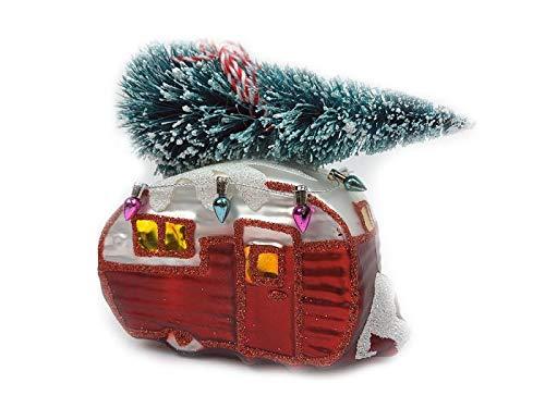 itsisa Baumschmuck Wohnwagen mit Weihnachtsbaum - Camper Baumkugel Caravan, Weihnachtsdeko, Christbaumkugel
