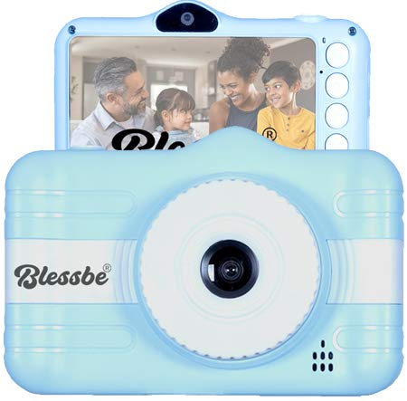 """BLESSBE Kids Digital Front and Rear Selfie Dual Camera with 3.5"""" Screen Child Real Camera for Childrens Cute Digital Camcorder Video Recorder (Blue) BB39"""
