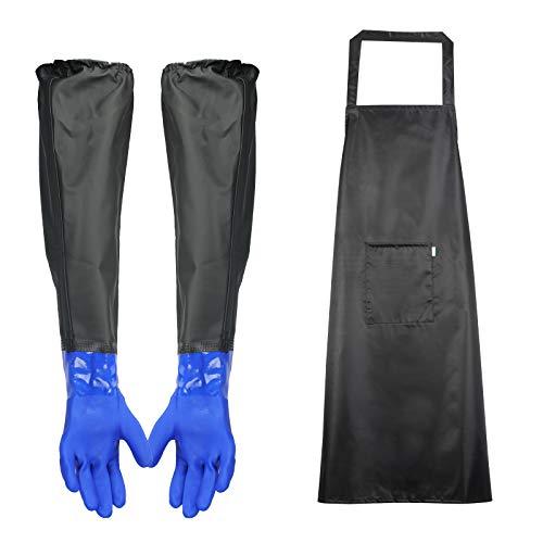 HAKOTOM 2TLG Teichpflege Handschuhe Lang Arbeitshandschuhe Wasserdicht Teichhandschuhe 66cm Sandstrahlerhandschuh, PVC Schürze, Teich Dachrinne entwässern Reinigungs Aquarium Küchen Haushaltsreinigung